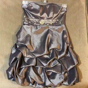 Champagne shimmery beaded waist prom dress